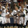 Baylor celebrates a walk-off home run by Holly Holl (6) during the Women\'s College World Series game between Baylor and Missouri at the ASA Hall of Fame Stadium in Oklahoma City, Sunday, June 5, 2011. Photo by Sarah Phipps, The Oklahoman