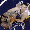 Miami Heat\'s Chris Andersen, left, grabs a rebound from Indiana Pacers\' Tyler Hansbrough during the second half of Game 3 of the NBA Eastern Conference basketball finals in Indianapolis, Sunday, May 26, 2013. (AP Photo/Michael Conroy)