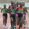 CORRECTS POSITION IN PHOTO OF RUNNER Vivian Jepkemoi Cheruiyot, center front no. 1386, in action to go on to win the women\'s 5000 meter final during the national trials for the London 2012 Olympic games at Nyayo National Stadium, Nairobi, Kenya, Saturday, June 23, 2012. Cheruiyot also won the 10,000 meters final. (AP Photo/Sayyid Azim)