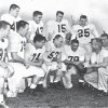 OU\'s 1955 road uniform. Worn by top row from left, Robert Burris, Billy Pricer, Jim Harris and Tommy McDonald. On the bottom row are John Bell, Edmon Gray, Cecil Morris, Jerry Tubbs, Bo Bolinger, Wilkinson and Calvin Woodworth. The team was part of OU\'s 47-game winning streak, which stretched from 1953-57. OKLAHOMAN ARCHIVE PHOTO
