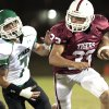 Tuttle\'s Tanner Brannon (33) turns a corner chased by Jones player Andrew Case (7) in high school football as Tuttle plays Jones on Friday, Oct. 19, 2012 in Tuttle, Okla. Photo by Steve Sisney, The Oklahoman