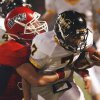 Purcell\'s Dylan Wilson (34) tackles Tony Ibarra (7) in high school football as Madill plays at Purcell on Thursday, Oct. 1, 2010, in Purcell, Okla. Photo by Steve Sisney, The Oklahoman