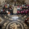 "FILE - This Aug. 23, 2003 file photo shows Nebraska Gov. Mike Johanns, bottom, addresses a gathering in the rotunda of the State Capitol in Lincoln featuring the floor decorated with the design of Art Deco muralist Hildreth Meiere. While Meiere\'s name has been largely forgotten her works abound throughout the country. ""The Art Deco Murals of Hildreth Meiere,"" by Catherine Coleman Brawer and Kathleen Murphy Skolnik with photographs by Meiere's granddaughter, Hildreth Meiere Dunn, is set for release May 1. (AP Photo/Nati Harnik, File)"