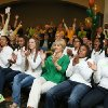 Photo - Baylor head coach Kim Mulkey, center watches the NCAA selection show with players  Mariah Chandler,  Nina Davis, Makenzie Robertson, Niya Johnson, and  Odyssey Sims, right during the NCAA selection process, Monday, March 17, 2014, in Waco, Texas. (AP Photo/Waco Tribune Herald, Rod Aydelotte)