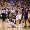 Oklahoma City\'s Thabo Sefolosha (2) helps Kevin Durant (35) up after a foul as Los Angeles\' Metta World Peace (15) and Andrew Bynum (17) watch in the final second of Game 2 in the second round of the NBA playoffs between the Oklahoma City Thunder and L.A. Lakers at Chesapeake Energy Arena in Oklahoma City, Wednesday, May 16, 2012. Oklahoma City won 77-75. Photo by Bryan Terry, The Oklahoman