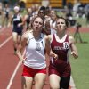 Shawnee\'s Paige Hughes crosses the finish line to win the girl\'s 5A 800 meter race during the 5A and 6A State Track Meet in Yukon, OK, Saturday, May 11, 2013, By Paul Hellstern, The Oklahoman
