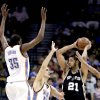 Oklahoma City\'s Kevin Durant (35) and Nenad Krstic (12) defend San Antonio\'s Tim Duncan (21) during the NBA game between Oklahoma City and San Antonio, Tuesday April 7, 2009, at the Ford Center in Oklahoma CIty. Photo by Sarah Phipps, The Oklahoma