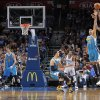 Oklahoma City Thunder\'s Kevin Durant (35) shoots a three over New Orleans Hornets\' Anthony Davis (23) during the NBA basketball game between the Oklahoma CIty Thunder and the New Orleans Hornets at the Chesapeake Energy Arena on Wednesday, Dec. 12, 2012, in Oklahoma City, Okla. Photo by Chris Landsberger, The Oklahoman