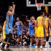 Oklahoma City\'s Kevin Durant (35) celebrates the game winning three-point shot during Game 4 in the second round of the NBA basketball playoffs between the L.A. Lakers and the Oklahoma City Thunder at the Staples Center in Los Angeles, Sunday, May 20, 2012. Oklahoma City won, 103-100. Photo by Nate Billings, The Oklahoman