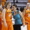 OSU assistant coach Miranda Serna talks with a player during a timeout during an exhibition women\'s NCAA college basketball game between the Oklahoma State University Cowgirls and the Fort Hays State Tigers at Gallagher-Iba Arena in Stillwater, Okla., Wednesday, Nov. 9, 2011. Photo by Bryan Terry, The Oklahoman