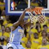 Denver Nuggets\' Kenneth Faried dunks against the Golden State Warriors during the first half of Game 6 in a first-round NBA basketball playoff series in Oakland, Calif., Thursday, May 2, 2013. (AP Photo/Marcio Jose Sanchez)