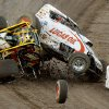 Kerry McAlister, left, of Mustang, Okla., and Cory Kruseman of Ventura, Calif., collide during a wingless sprint car heat race at the State Fair Speedway in Oklahoma City, Wednesday, August 13, 2008. BY BRYAN TERRY, THE OKLAHOMAN