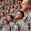 Troops stand at attention during the 45th Infantry Brigade Combat Team deployment ceremony inside the Cox Convention Center, Wednesday, Feb. 16, 2011. Photo by Jim Beckel, The Oklahoman