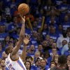 Oklahoma City\'s Kevin Durant (35) takes the shot under the final minute of Game 2 of the NBA Finals between the Oklahoma City Thunder and the Miami Heat at Chesapeake Energy Arena in Oklahoma City, Thursday, June 14, 2012. Photo by Sarah Phipps, The Oklahoman