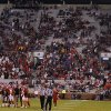 Sooner fans begin to clear out of the stands in Oklahoma\'s 41-38 loss to Texas Tech during the college football game between the University of Oklahoma Sooners (OU) and Texas Tech University Red Raiders (TTU) at the Gaylord Family-Oklahoma Memorial Stadium on Sunday, Oct. 23, 2011. in Norman, Okla. Photo by Chris Landsberger, The Oklahoman