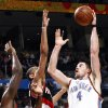 Oklahoma City\'s Nick Collison (4) take a shot during the NBA basketball game between the Oklahoma City Thunder and the Portland Trail Blazers at the Ford Center in Oklahoma City, Friday, February 6, 2009. BY NATE BILLINGS, THE OKLAHOMAN