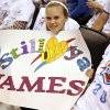Thunder fan Caroline Russell, 11, shows her sign for James Harden during Game 2 in the first round of the NBA playoffs between the Oklahoma City Thunder and the Houston Rockets at Chesapeake Energy Arena in Oklahoma City, Wednesday, April 24, 2013. Oklahoma City won, 105-102. Photo by Nate Billings, The Oklahoman