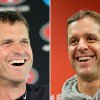 FILE - In a July 27, 2012 file photo, San Francisco 49ers head coach Jim Harbaugh, left, smiles during a news conference at the teams headquarters in Santa Clara, Calif. At right, in a Jan. 16, 2013 file photo, Baltimore Ravens head coach John Harbaugh smiles during a new conference at the teams practice facility in Owings Mills, Md. The Harbaugh\'s will be the first pair of brothers to coach against each other in the NFL title game. (AP Photo/File)