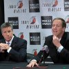 Photo -   Portland Trail Blazers general manager Neil Olshey, left, listens as new head coach Terry Stotts speaks during an NBA basketball news conference, Wednesday, Aug. 8, 2012, in Portland, Ore. (AP Photo/Nigel Duara)
