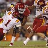 Oklahoma\'s Mossis Madu (17) fumbles the ball as he is hit by Iowa State\'s David Sims (1) during the second half of the college football game between the University of Oklahoma Sooners (OU) and the Iowa State Cyclones (ISU) at the Gaylord Family-Oklahoma Memorial Stadium on Saturday, Oct. 16, 2010, in Norman, Okla. Photo by Chris Landsberger, The Oklahoman