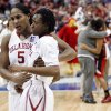 Sooner Ashley Paris comforts Nyeshia Stevenson after her last second shot misses and the University of Oklahoma is defeated by Louisville 61-59 at the 2009 NCAA women\'s basketball tournament Final Four in the Scottrade Center in Saint Louis, Missouri on Sunday, April 5, 2009. Photo by Steve Sisney, The Oklahoman
