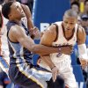 Memphis\' Rudy Gay (22) collides with Oklahoma City\'s Russell Westbrook (0) during the NBA basketball game between the Oklahoma City Thunder and the Memphis Grizzlies at Chesapeake Energy Arena on Wednesday, Nov. 14, 2012, in Oklahoma City, Okla. Photo by Chris Landsberger, The Oklahoman