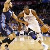 Oklahoma City\'s Kevin Durant (35) drives the ball against Charlotte\'s Jeffery Taylor (44) during an NBA basketball game between the Oklahoma City Thunder and Charlotte Bobcats at Chesapeake Energy Arena in Oklahoma City, Monday, Nov. 26, 2012. Photo by Nate Billings , The Oklahoman