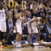 Oklahoma City\'s Kendrick Perkins (5), Russell Westbrook (0), Kevin Durant (35), and James Harden (13) celebrate beside Denver\'s Wilson Chandler (21) and Ty Lawson (3) after Durant was fouled while making a basket during the NBA basketball game between the Denver Nuggets and the Oklahoma City Thunder in the first round of the NBA playoffs at the Oklahoma City Arena, Wednesday, April 27, 2011. Photo by Bryan Terry, The Oklahoman