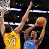 Oklahoma City\'s Kevin Durant (35) shoots as Los Angeles\' Andrew Bynum (17) defends during Game 4 in the second round of the NBA basketball playoffs between the L.A. Lakers and the Oklahoma City Thunder at the Staples Center in Los Angeles, Saturday, May 19, 2012. Photo by Nate Billings, The Oklahoman