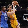 Los Angeles\' Pau Gasol (16) tries to get around Oklahoma City\'s Kevin Durant (35) during Game 4 in the second round of the NBA basketball playoffs between the L.A. Lakers and the Oklahoma City Thunder at the Staples Center in Los Angeles, Saturday, May 19, 2012. Photo by Nate Billings, The Oklahoman