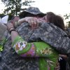 Vicki Behenna hugs her son, 1st Lt. Michael Behenna, on the the day he deployed for Iraq in September 2007. Photo provided by the Behenna Family