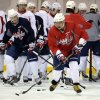 Photo - Washington Capitals' Alex Ovechkin, of Russia, skates with the puck during NHL hockey team practice at the Kettler Capitals Iceplex in Arlington, Va. Wednesday, May 1, 2013. The Capitals host the New York Rangers in Game 1 of a first-round NHL hockey Stanley Cup playoff series on Thursday. (AP Photo/Susan Walsh)