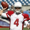 Photo -   Arizona Cardinals quarterback Kevin Kolb warms up before an NFL football game against the New England Patriots, Sunday, Sept. 16, 2012, in Foxborough, Mass. (AP Photo/Stephan Savoia)