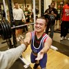 Dustin Cichon shakes hands after completing his squat during the powerlifting competition for the Special Olympics at Oklahoma State University (OSU) on Wednesday, May 13, 2009, in Stillwater, Okla. Photo by Chris Landsberger, The Oklahoman
