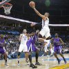 The Thunder\'s Russell Westbrook (0) drives to the basket past the Kings\' defense during the NBA basketball game between the Oklahoma City Thunder and The Sacramento Kings on Tuesday, Feb. 15, 2011, Oklahoma City Okla. Photo by Chris Landsberger, The Oklahoman