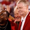 Photo - 1971 GAME OF THE CENTURY REUNION: Johnny Rodgers, Barry Switzer and Tom Osborne pose for a group photograph at the half of the college football game between the University of Oklahoma Sooners (OU) and the University of Nebraska Huskers (NU) at the Gaylord Family -- Oklahoma Memorial Stadium, on Saturday, Nov. 1, 2008, in Norman, Okla.   BY STEVE SISNEY, THE OKLAHOMAN  ORG XMIT: KOD