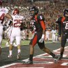 Texas Tech\'s Michael Crabtree celebrates after a touchdown catch against Oklahoma in 2007. The Sooners have lost their last three games at Texas Tech. PHOTO BY BRYAN TERRY., THE OKLAHOMAN