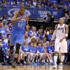 Oklahoma City\'s Kevin Durant (35) reacts beside Dallas\' Shawn Marion (0) during Game 4 of the first round in the NBA playoffs between the Oklahoma City Thunder and the Dallas Mavericks at American Airlines Center in Dallas, Saturday, May 5, 2012. Oklahoma City won 103-97. Photo by Bryan Terry, The Oklahoman