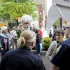 Activists are denied entry into the courtyard of the federal courthouse before the trial of anti-nuclear weapons activists Sister Megan Rice, 83, Michael Walli, 64, and Greg Boertje-Obed, 56, on Monday, May 6, 2013, in Knoxville, Tenn. The activists, who call themselves