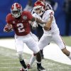 Alabama\'s DeAndrew White (2) gets past Oklahoma\'s Zack Sanchez (15) during the NCAA football BCS Sugar Bowl game between the University of Oklahoma Sooners (OU) and the University of Alabama Crimson Tide (UA) at the Superdome in New Orleans, La., Thursday, Jan. 2, 2014. .Photo by Chris Landsberger, The Oklahoman