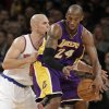 New York Knicks guard Jason Kidd (5) defends Los Angeles Lakers guard Kobe Bryant (24) in the first half of their NBA basketball game at Madison Square Garden in New York, Thursday, Dec. 13, 2012. (AP Photo/Kathy Willens)