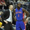 Photo -   Detroit Pistons head coach Lawrence Frank, left, talks with Rodney Stuckey (3) during an NBA basketball game against the Milwaukee Bucks in the first half on Saturday, Oct. 13, 2012, in Milwaukee. (AP Photo/Jim Prisching)
