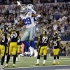 Dallas Cowboys running back DeMarco Murray (29) celebrates his touchdown against the Pittsburgh Steelers with Dez Bryant (88) during the second half of an NFL football game Sunday, Dec. 16, 2012 in Arlington, Texas. (AP Photo/Tony Gutierrez) ORG XMIT: CBS138