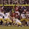 OU\'s Joseph Ibiloye (5) tries to block a field goal by Notre Dame during the college football game between the University of Oklahoma Sooners (OU) and the Notre Dame Fighting Irish at the Gaylord Family-Oklahoma Memorial Stadium on Saturday, Oct. 27, 2012, in Norman, Okla. Photo by Chris Landsberger, The Oklahoman