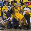 Indiana Pacers\' David West works the ball inside against Sacramento Kings\' Jason Thompson during the first quarter of an NBA basketball game in Indianapolis on Saturday, Nov. 3, 2012. (AP Photo/Doug McSchooler)