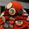 Dianne Joachim, from Richmond, Wisconsin wears a selection of campaign buttons in her hat before the start of the Republican National Convention in Tampa, Fla., on Thursday, Aug. 30, 2012. (AP Photo/Lynne Sladky) ORG XMIT: RNC416