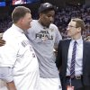 Oklahoma City Thunder chairman Clay Bennett and general manager Sam Presti talk with Kendrick Perkins as they celebrate after the Thunder\'s 107-99 win over the Spurs in Game 6 of the Western Conference Finals between the Oklahoma City Thunder and the San Antonio Spurs in the NBA playoffs at the Chesapeake Energy Arena in Oklahoma City, Wednesday, June 6, 2012. Photo by Chris Landsberger, The Oklahoman