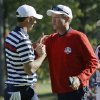 USA\'s captain Davis Love III congratulates Dustin Johnson after his singles match win over Europe\'s Nicolas Colsaerts at the Ryder Cup PGA golf tournament Sunday, Sept. 30, 2012, at the Medinah Country Club in Medinah, Ill. (AP Photo/David J. Phillip) ORG XMIT: PGA164