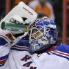 New York Rangers goalie Henrik Lundqvist, of Sweden, cools off during the second period of an NHL hockey game against the Philadelphia Flyers, Thursday, Jan. 24, 2013, in Philadelphia. (AP Photo/Matt Slocum)
