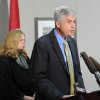 CORRECTS SPELLING OF KAINER, NOT KAYINER - In this Tuesday, Oct. 2, 2012 photo, Dr. David Reagan, chief medical officer for the Tennessee Department of Health, right, and Dr. Dr. Marion Kainer, also with the state health department tell local and national media about an outbreak of fungal meningitis infections that have already killed two and sickened 13 others in Nashville, Tenn. (AP Photo/The Tennessean, Shelley Mays) NO SALES